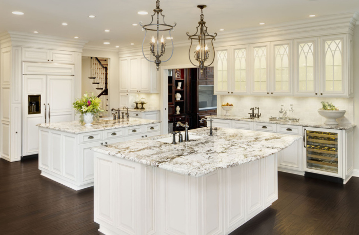 White-modern-Kitchen-with-four-granite-white-brown-stripes-and-tiled-tops-kitchen-table-idea