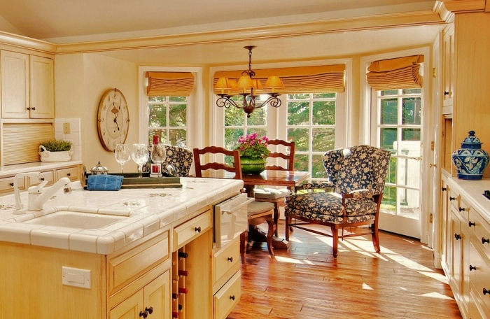 Traditional-Kitchen-idea-With-Two-Contemporary-printed-material-And-Wooden-Chairs