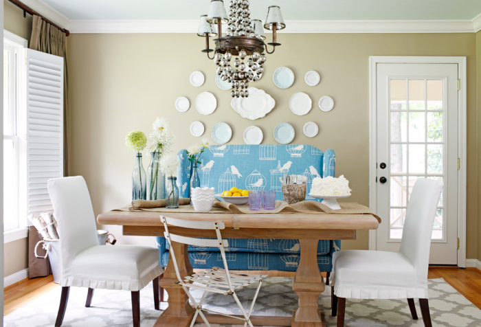 Light-grey-and-white-dining-room-with-a-cute-blue-sofa