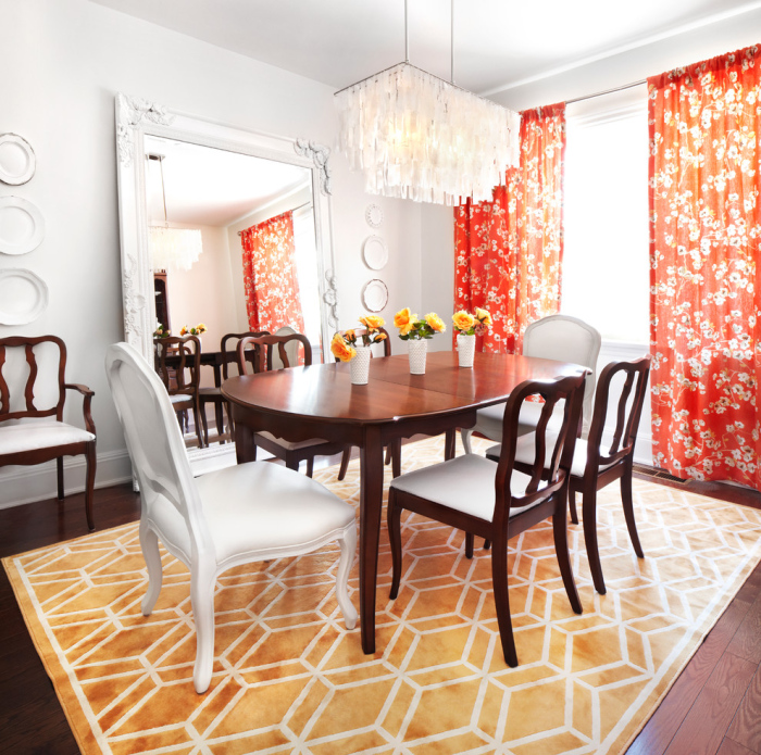 White-wooden-dining-room-with-nice-red-floral-curtains