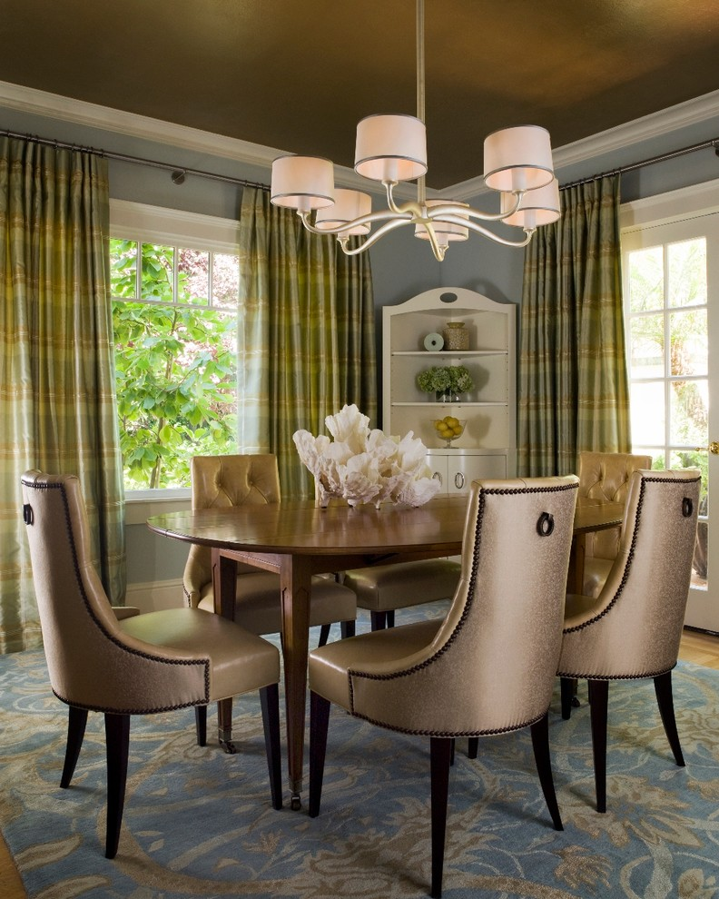 Transitional Dining Room With Greenish And Yellowish Shade Of Curtains