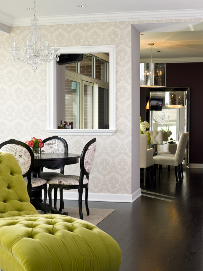 White-black-and-grey-dining-room-with-a-funky-green-sofa