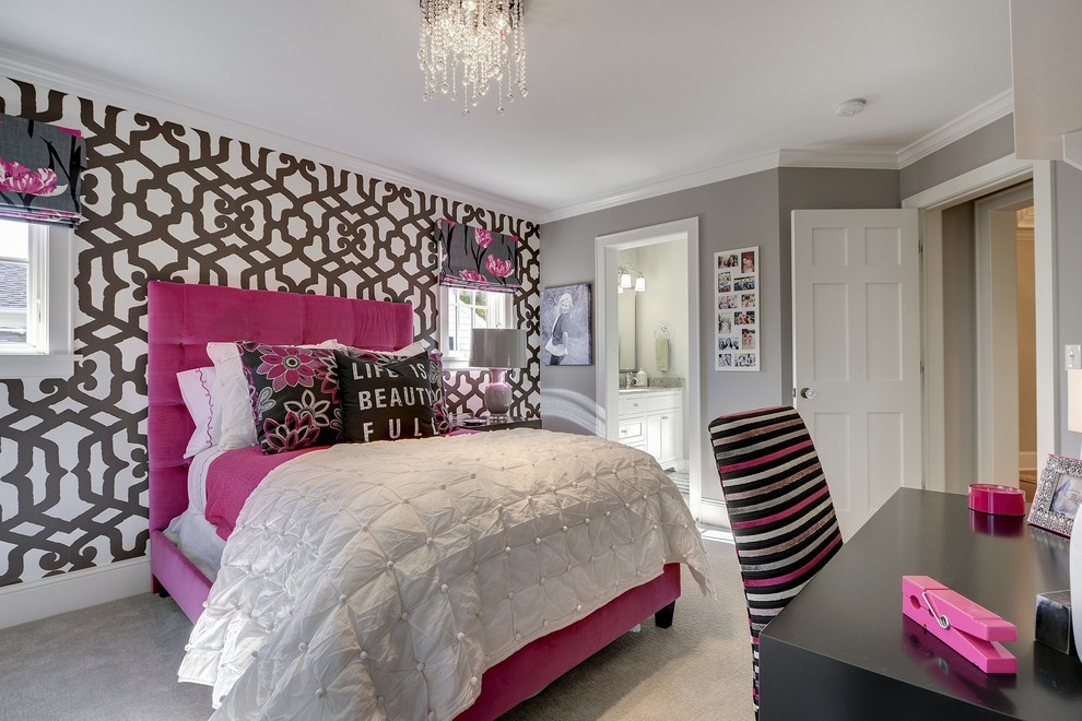 Teenage girl bedroom wall designs for Grey wallpaper bedroom