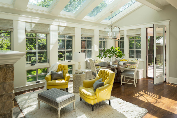 Off-white-grey-sunroom-with-Olive-yellow-colour-chair