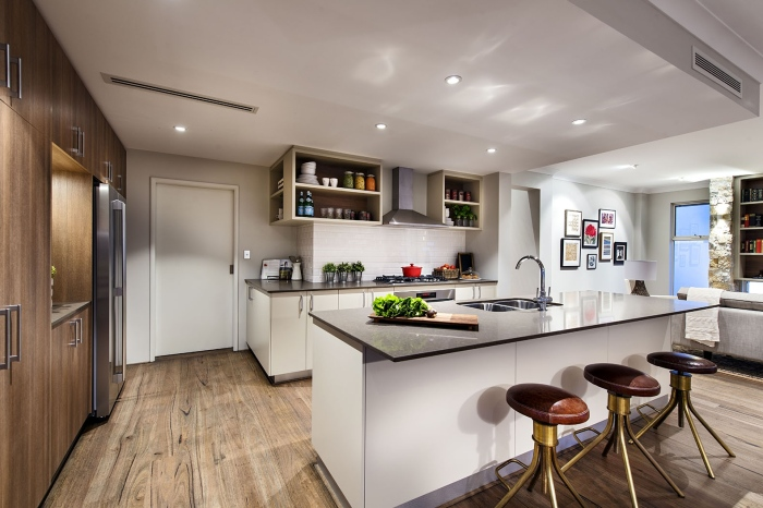 Contemporary-kitchen-and-dining-Avalon-classic-homestead-inspired-design-with-wooden-cabinets