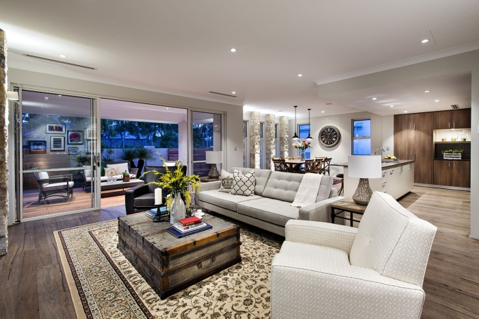 Contemporary-Living-Area-Avalon-Classic-Homestead-Inspired-Design-With-An-Old-Art-Carpet