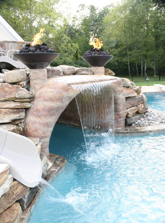 10 waterfalls for swimming pools ideas - Arc swimming pool ...