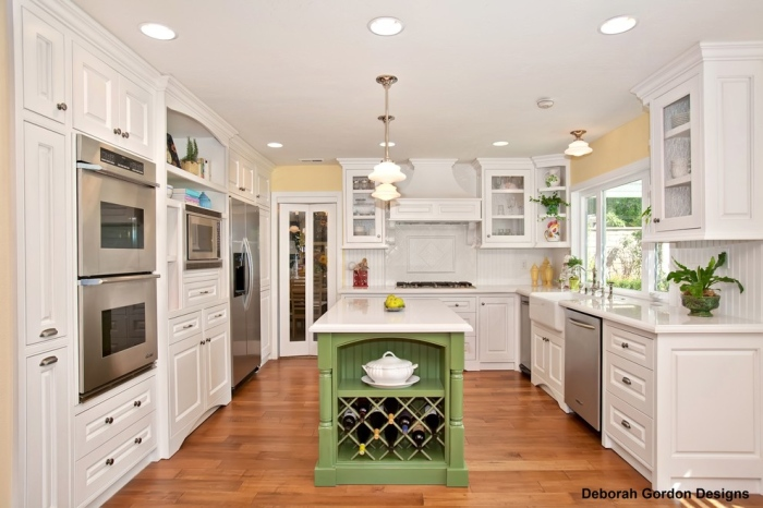 White Kitchen With Green Accent Color