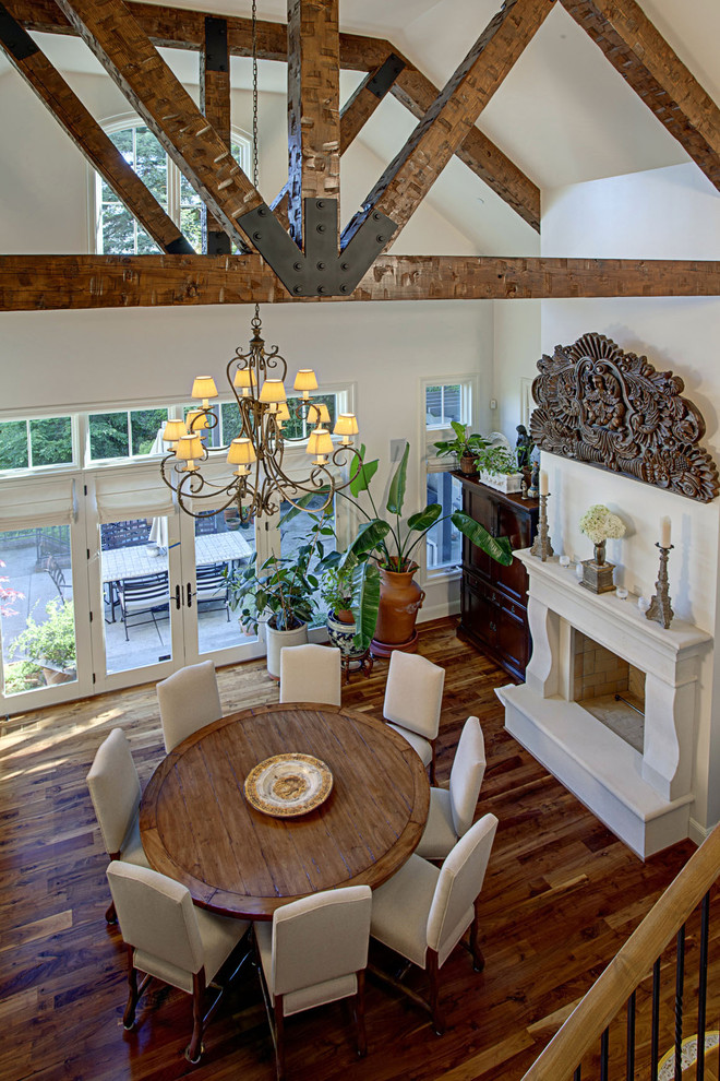 White-brown-wooden-dining-room-with-a-round-dining-table