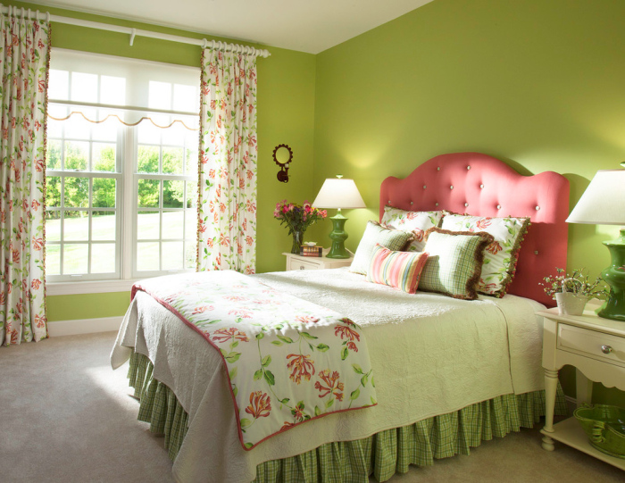 White-lime-green-and-bright-red-bedroom