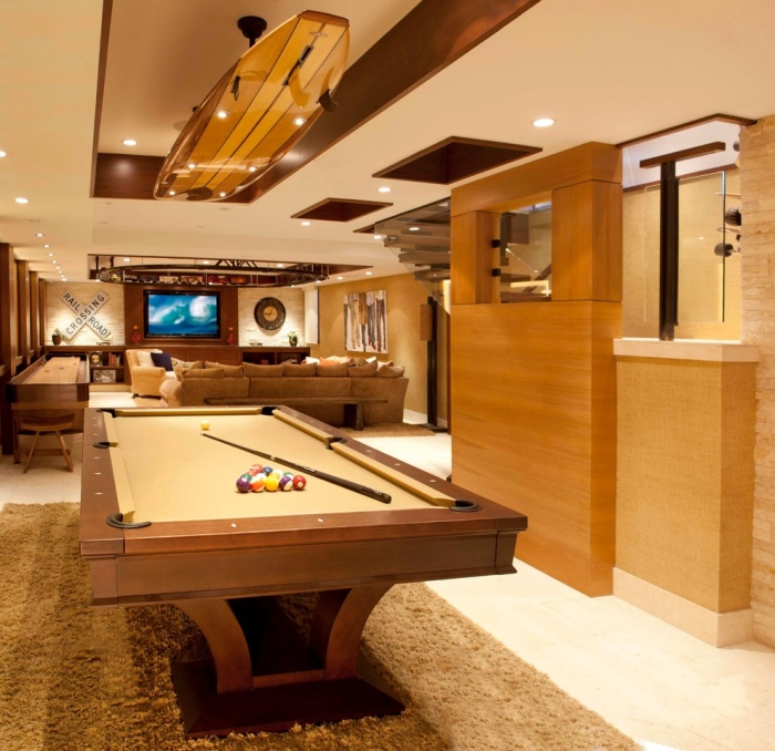Bright light fills the area of the pool table