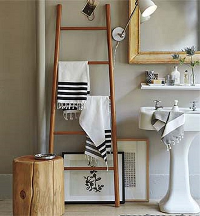 bamboo ladder and mirror