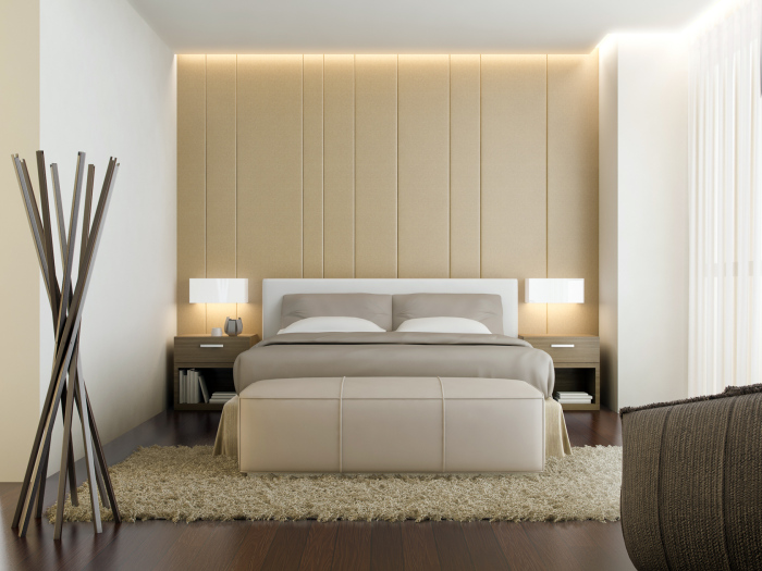 brown headboard with lighting