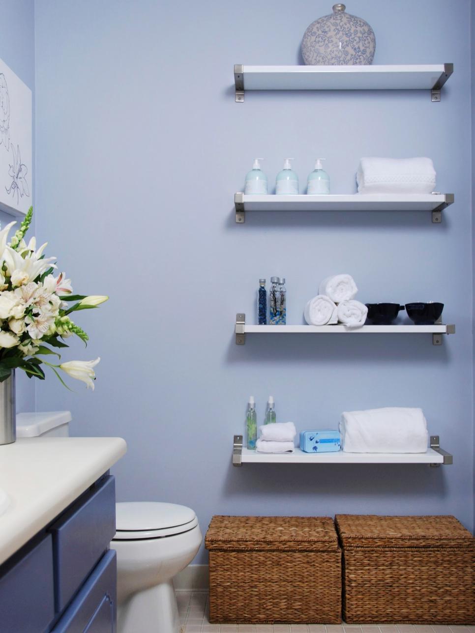 Bathroom Wall Shelves On Blue Wall Paint