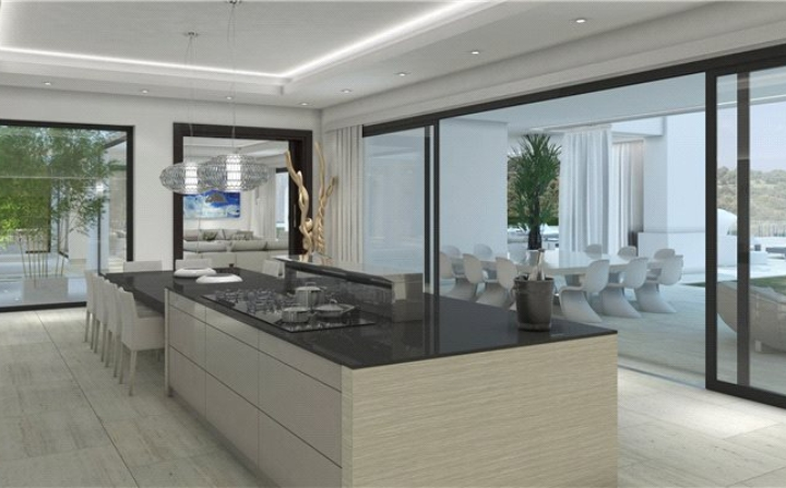 open space kitchen and dining room