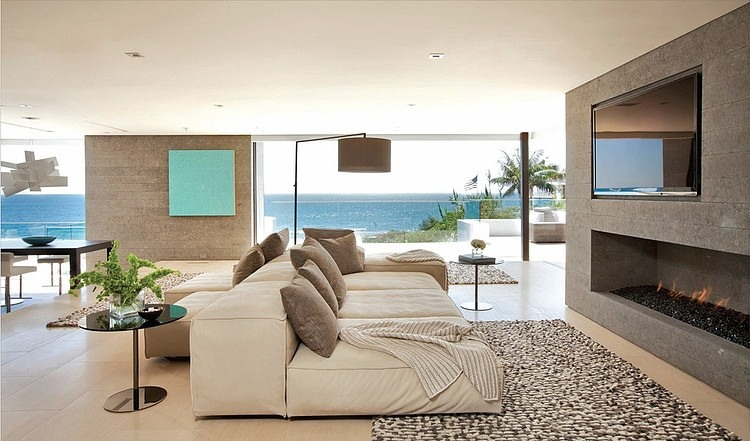 modern open space living room area