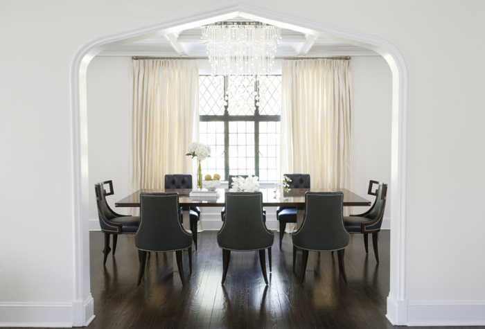 Sophisticated dining space with its big rectangular dining table