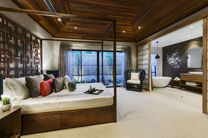 Traditional-bedroom-with-Japanese-art-wooden-roofing