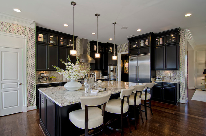 white-and-black-contemporary-Kitchen-with-off-white-colored-mosaic-granite-top-kitchen-table-idea