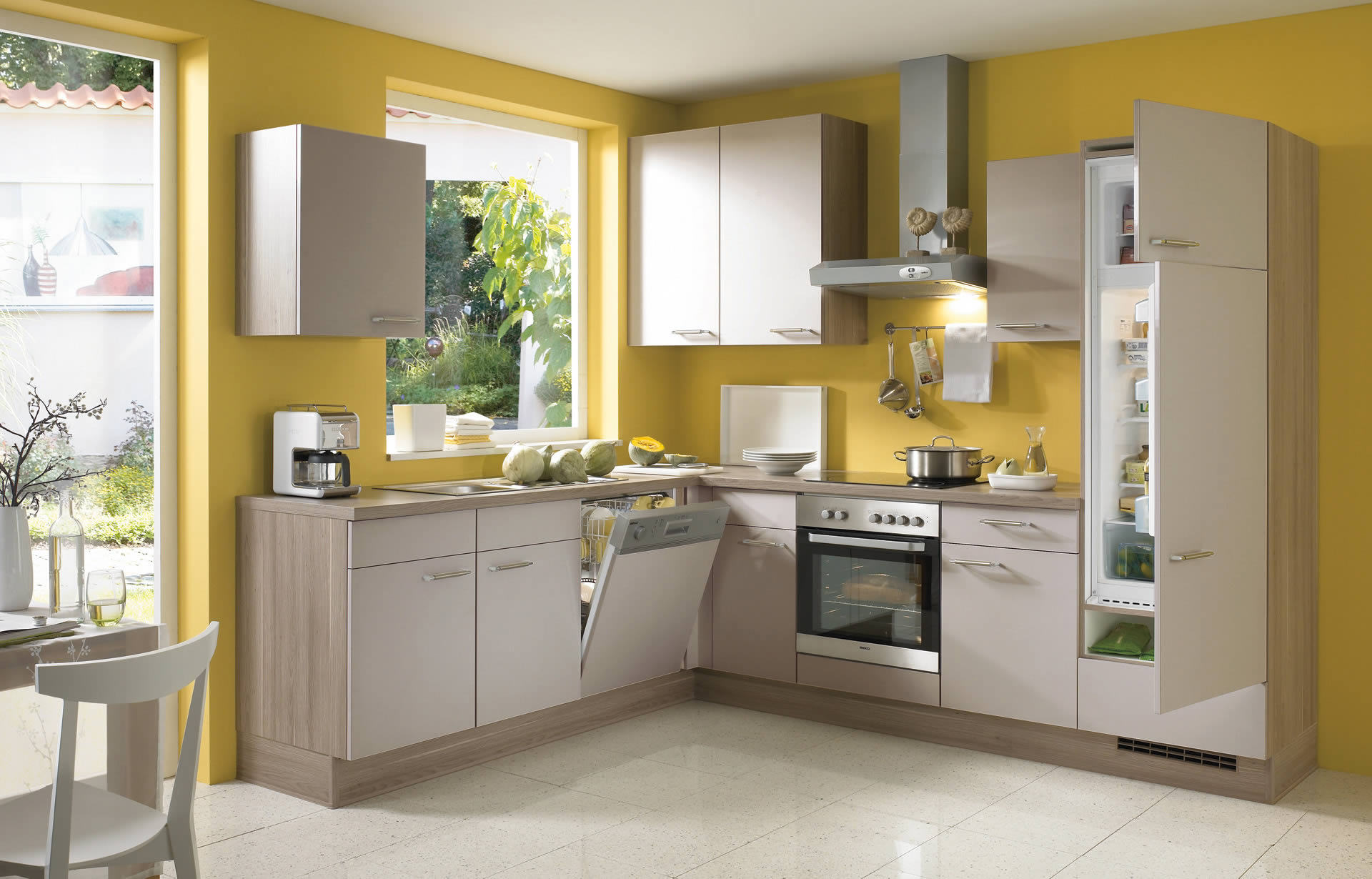 10 hometown kitchen designs ideas for Grey yellow kitchen ideas