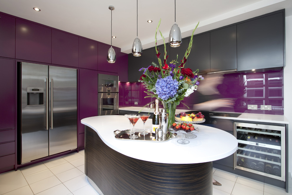 purple and dark wooden contemporary Kitchen with white granite top