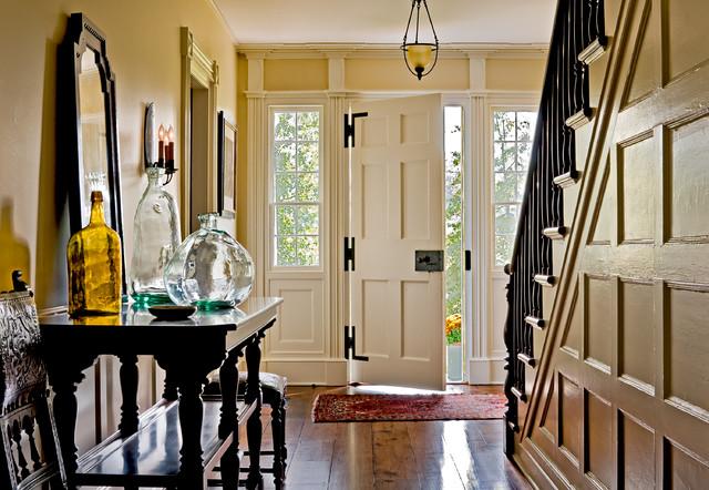 hallway with black walnut flooring