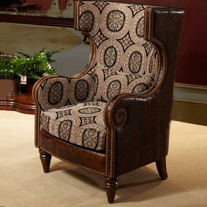 Vintage Style leather wing chair