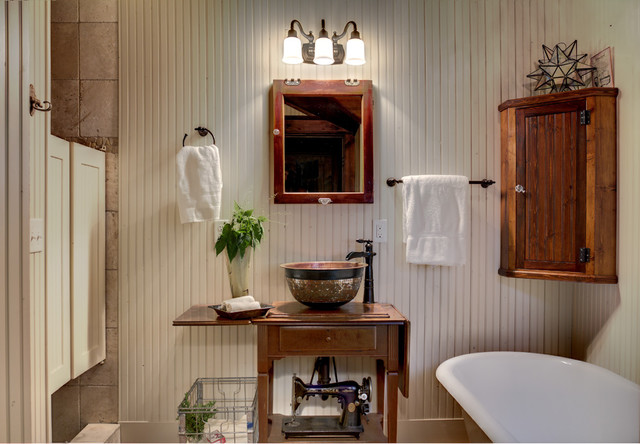 The bead board on the walls also creates a rural feel to the room