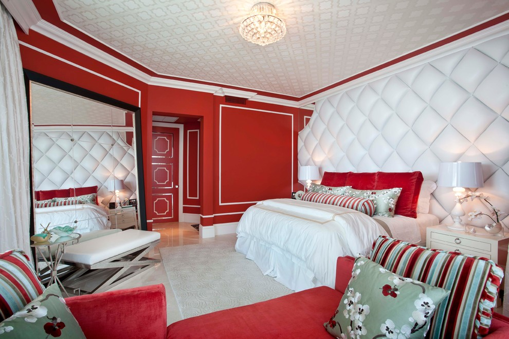 red has been used in this room which fits in perfectly with the other white elements