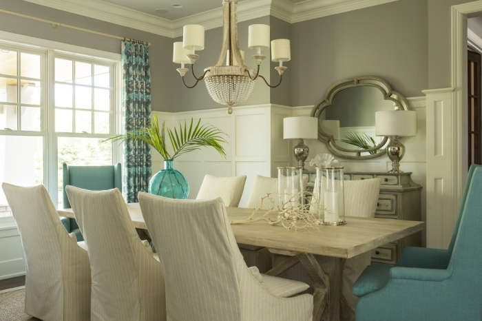 aqua marine blue and grey dining