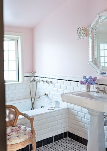 Bevelled subway tiles can also add to the vintage look of your bathroom