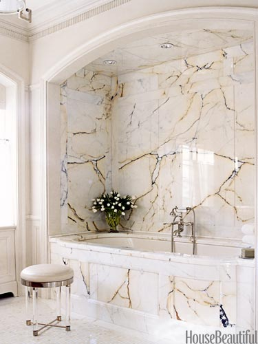 Bathroom walls made of marble stones are of great choice because they are durable