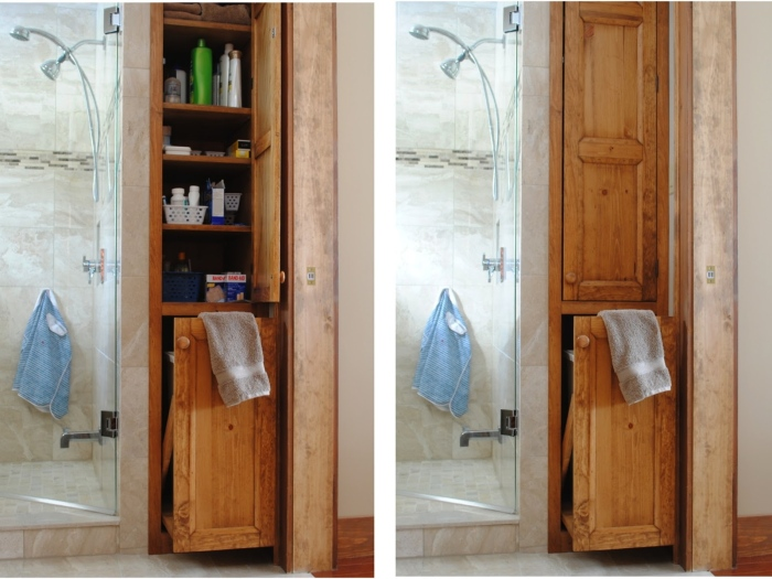 The layered wooden storage cabinets are attached beside the shower area