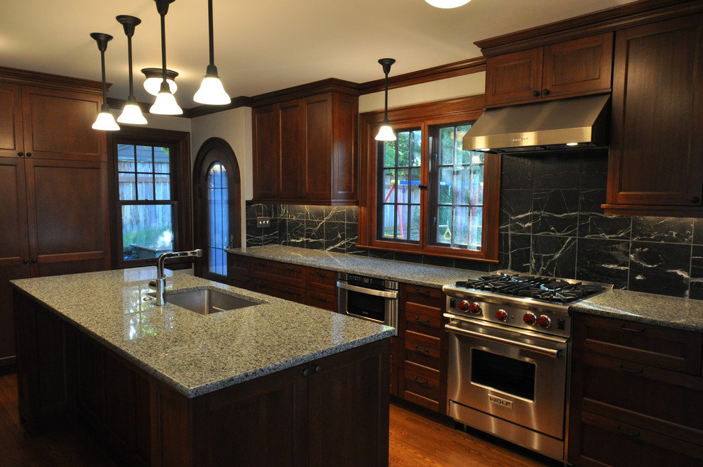 10 black wood kitchen cabinets designs for Kitchen remodel ideas black granite