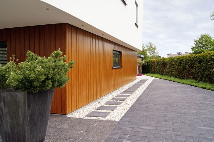 house with wooden panels