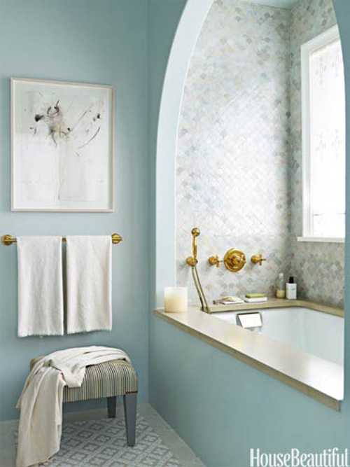 This blue palette bathroom is definitely cool to look at.