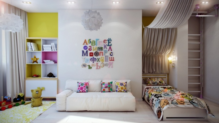 It is important to have colorful fabrics or wall murals for a children's room