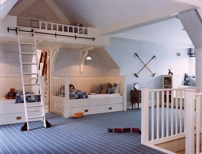 Kid's bedroom with the symmetrical bed