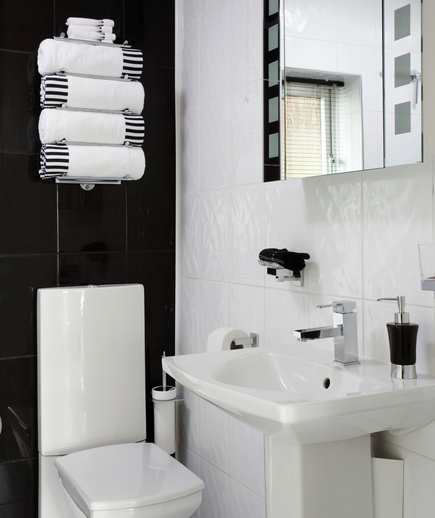 Black and white monochrome bathroom