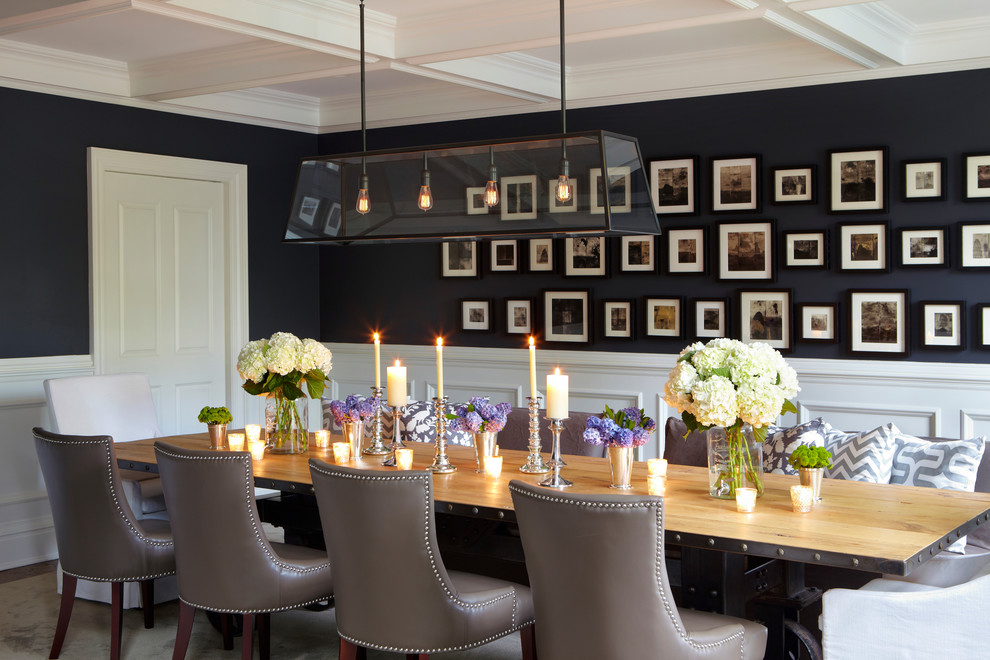 industrail dining room with picture wall art