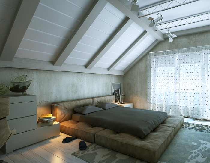 a marvellous attic bedroom design