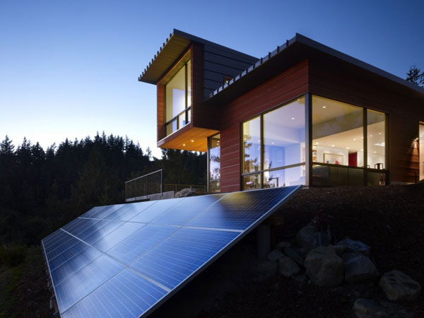 The house is called the Chuckanut Ridge House designed by Prentiss Architects