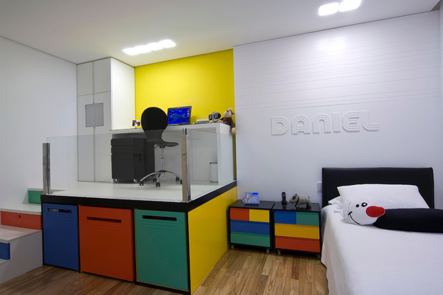 Storage cabinets under it are painted in beautiful bright colors