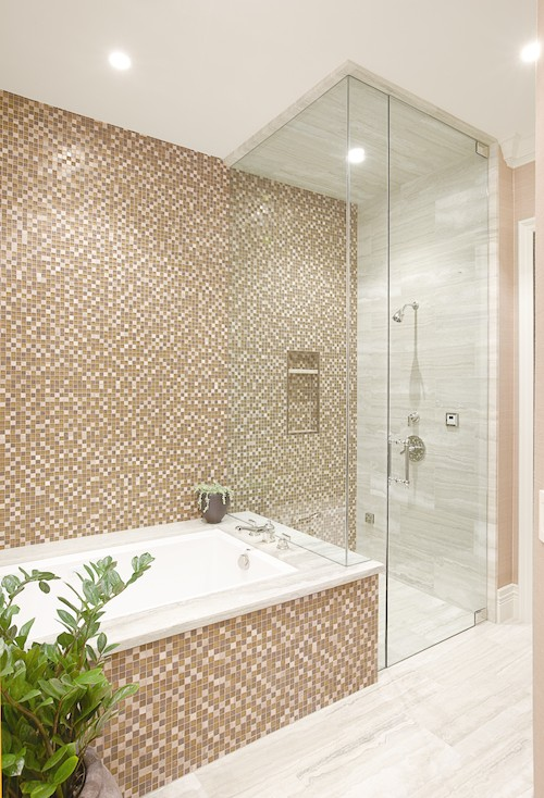 The small pattern of mosaic tiles is perfect for this stylish bathroom