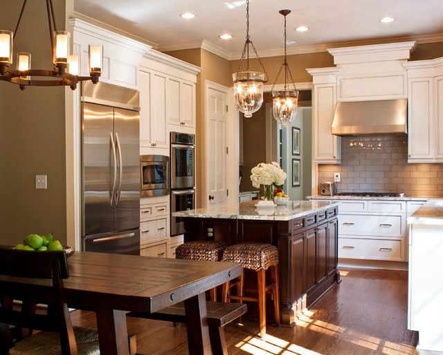 Brown marble counter tops  go with the subway tile back splash