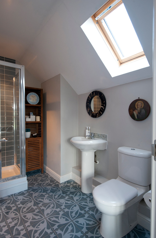 grey and blue family bathroom