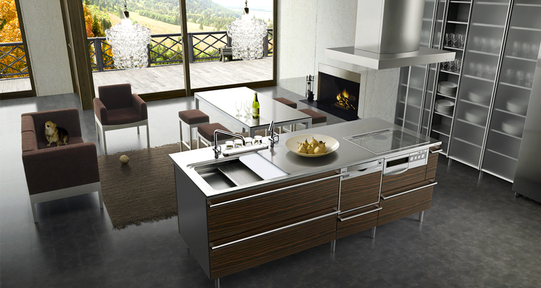 Contemporary Open Kitchen Living