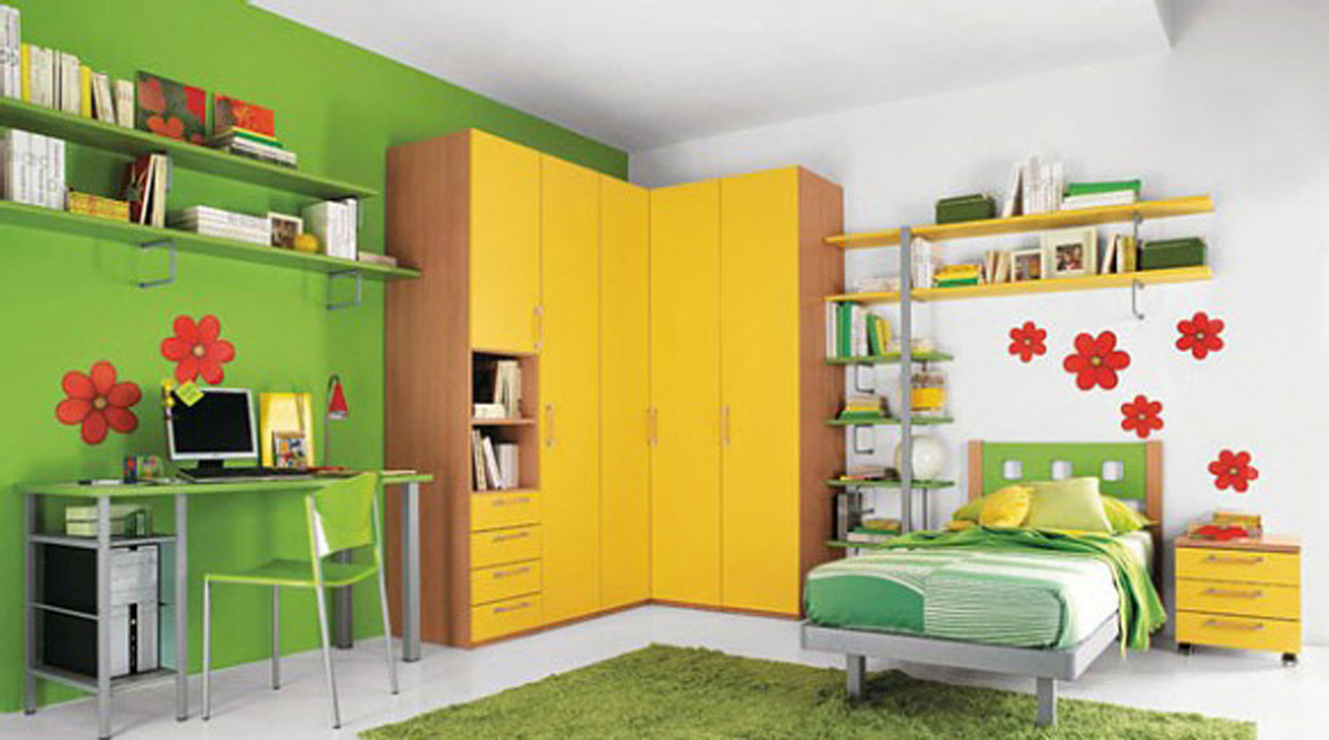 Kid's room with corner shelving units