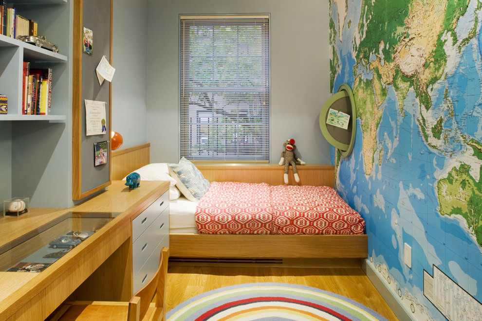 kids room with world wall map