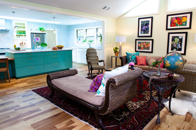 Living room with Turquoise Cabinet